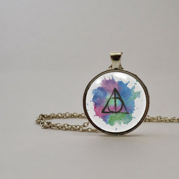 Deathly Hallows Watercolor Original Design Pendant Necklace or Keychain