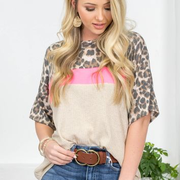 Leopard Hot Pink Block Flutter Top | Oatmeal
