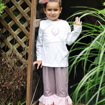 Double Ruffled Pants with Monogrammed Shirt, Outfit for Girls sizes 2T to 8