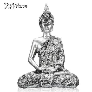 Kiwarm New 17cm Buddha Sitting Meditation Thailand Feng Shui Sculpture Buddhism Statue Budda Happiness for Home Ornaments Gifts