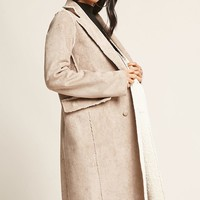 Double-Breasted Faux Suede Coat