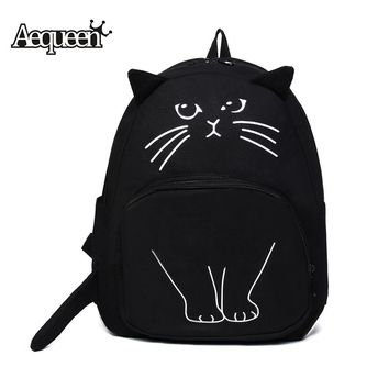 Lovely Canvas Cat Backpack With Cat Face Print