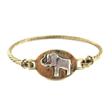 Elephant Medallion Textured Cuff Bangle Bracelet in Brass