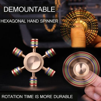 Hexagonal Hand Spinner 100% Brass fidget edc toy 2017 New Metal fidget spinner edc finger Spinner Hand relieves stress