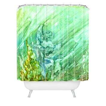 Rosie Brown Green Coral Shower Curtain