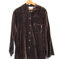 Vintage slouchy shirt. Brown velvet button up shirt. Modern velvet shirt.