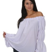 Amazon.com: Renaissance Pirate White Chemise Shirt Top Medieval Peasant Wench Sca Blouse SC88523A: Clothing