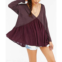 Wine Red V-Neck Long-Sleeve Chiffon Shirt