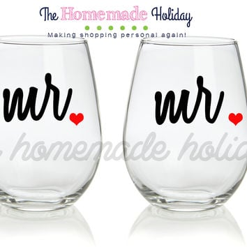Mr. and Mr. Stemless Wine Glasses