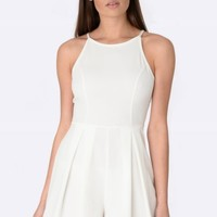 Lacie White Pleated Playsuit -Womens White Playsuits Online | South Avenue | Fashion