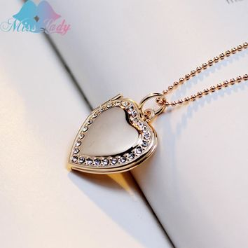 Miss Lady Trendy Crystal Love locket pendant necklace Photo Frame pendant Gold Silver Heart  jewelry necklace gifts MLY63N