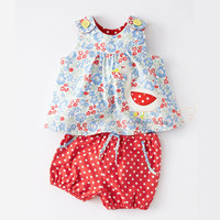 Newborn baby girl clothes sleeveless baby girl summer dot dress+floral short pants baby clothing set