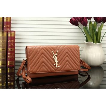 YSL Hot Sale Fashion Women Handbag Leather Shoulder Bag Crossbody Satchel Brown