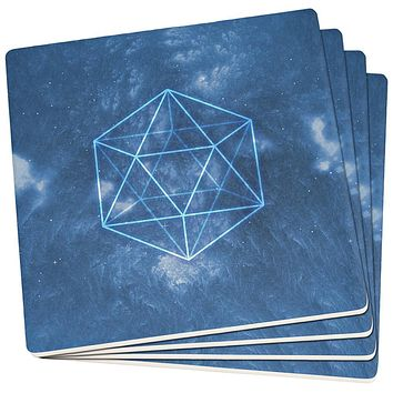 Sacred Geometry Icosahedron Crystal Wind Set of 4 Square Sandstone Coasters