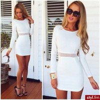 Irregular Fashion Zipper Solid Color Slim Fit Mini Dress