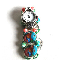 Valentines Sale Ladies Watch, Macaw Parrot, Handmade, Stainless Steel, Beaded Band, Polymer Beads, Fashion Watch, Artisan Jewelry