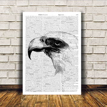 Bald eagle poster Modern decor Dictionary print Bird art RTA360