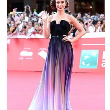 HOT CUTE GRADIENT PURPLE LONG DRESS