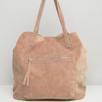 Pull&Bear Suedette Shopper In Dusky Pink at asos.com