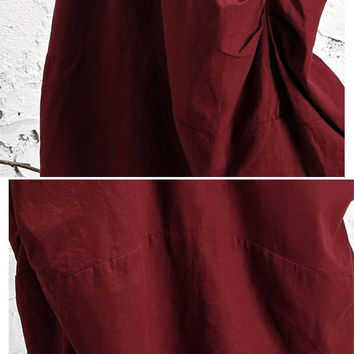 Women spring skirt Winter Linen Skirt Cropped skirt Petite Skirt Wine red skirt with pocket (WS11192)
