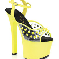 "Ellie Shoes Solar 7"" Neon Platform Black Light Reactive Spikes Yellow Eight"