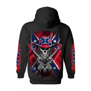 Men's/Unisex Pullover Hoodie Rebel Flag Cowboy Skeleton