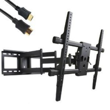 VideoSecu MW380B2 Full Motion Articulating Dual Arms TV Wall Mount Bracket for 37-70 Inch LED, LCD and Plasma HDTV A37