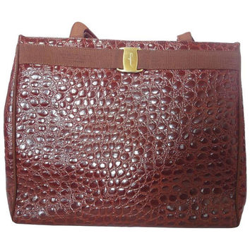 Vintage Salvatore Ferragamo brown croc embossed genuine leather tote bag with golden motif from vara collection. Classic large purse.