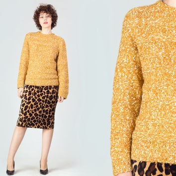 70s Mustard Wool Sweater / Mottled Round Neckline Jumper / Speckled Yellow White Medium M Knit Sweater