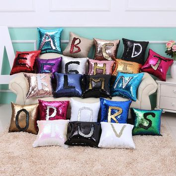 Sequin Mermaid Throw Pillow DIY Two Tone Glitter Magical Color Cushion Cover Sofa Home New Year Decorative Cojines Pillowcase
