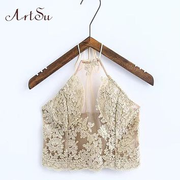 ArtSu Elegant Lace Floral  Crop Top Summer Beach Halter Tops Gold Sexy Party Camis Boho Womens Cropped Tank Top ASVE20044