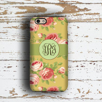 Monogram iPhone 6s Plus case, Tech For Her, Floral Iphone 6 case, Women's Iphone 5c case, Pretty Iphone 5s case, Yellow pink roses (1585)