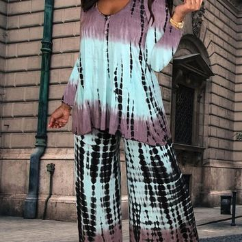 New Blue Tie dyeing Buttons Two Piece Wide Leg Palazzo Long Casual Jumpsuit