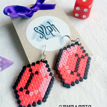 Bright pink geeky 8bit Zelda game inspired Gemtastic earrings in an emerald shape made of Hama Mini Perler Beads
