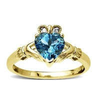 10k Yellow Gold Heart-Shaped Blue Topaz and Diamond-Accent Claddagh Ring  Size 7
