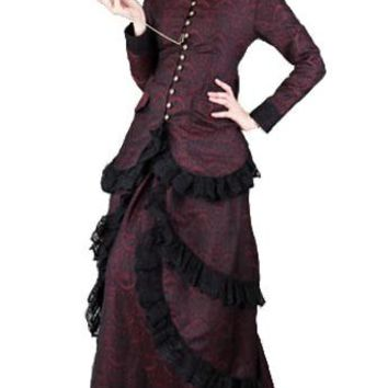 Ladies Red & Black Lace Button Down Victorian Steampunk Dress. 2 Piece Womens Skirt & Blouse