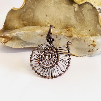 Nautilus Pendant Upcycled Copper Wire, Hand Crafted, One of a Kind, OOAK, Woven Wire, Wire Wrapped Jewelry, Jewellery