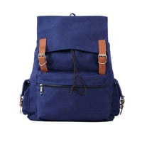 Simple Blue Camping Bag Retro Student Rucksack Large Travel Canvas Backpack