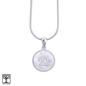 "Jewelry Kay style Women's Stainless Steel in Silver D Initial Letter Medallion 16"" Chain Necklace"