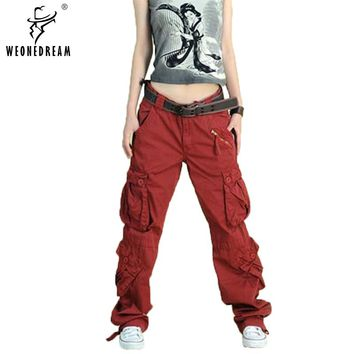 New Arrive 2017 Plus Size  5colors Cargo Pants Women's Overall,Hip Hop Loose Jeans Baggy Pants For Women