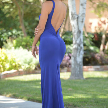 Blue Open Back Maxi Dress