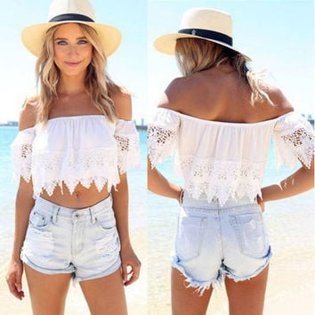 Sexy Summer Off the Shoulder Lace Crop Top