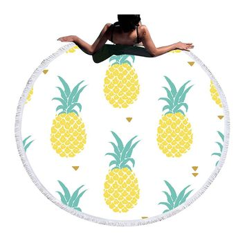 Round Beach Towel  Pineapple Printed