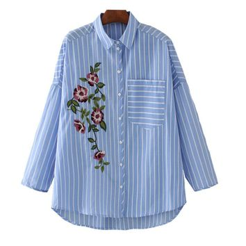Women's blouses Embroidery Female Top Striped Shirt Cotton Long Sleeve Loose Large Size camisa feminina manga comprida Blusas
