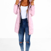 Main Attraction Pink Fur Trim Hooded Puffer Coat