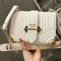 Prada Diagramme Collection New Women's Fashionable Shoulder Bag Messenger Bag F0439-1 white