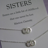 Sisters jewelry // Sisters necklace // Two sisters jewelry. Delicate sterling silver // IInspirational Gift
