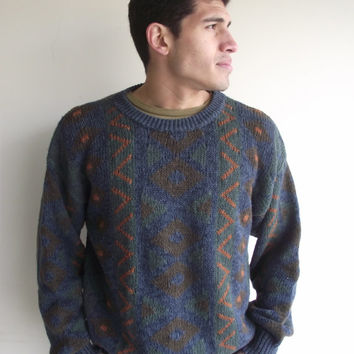 Mens // Unisex Oversized Faded Navy Pattern Crew Neck Grandpa Sweater