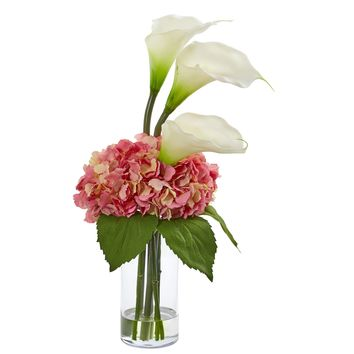 Artificial Flowers -Calla Lily and Hydrangea Arrangement