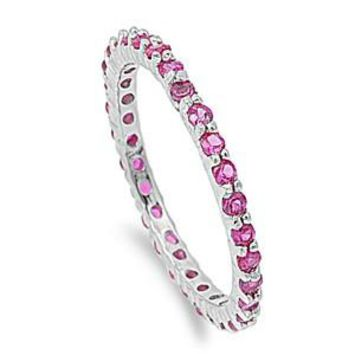 Sterling Silver Stackable Eternity Ring CZ Ruby 2MM JB-SI-RC108001-RB